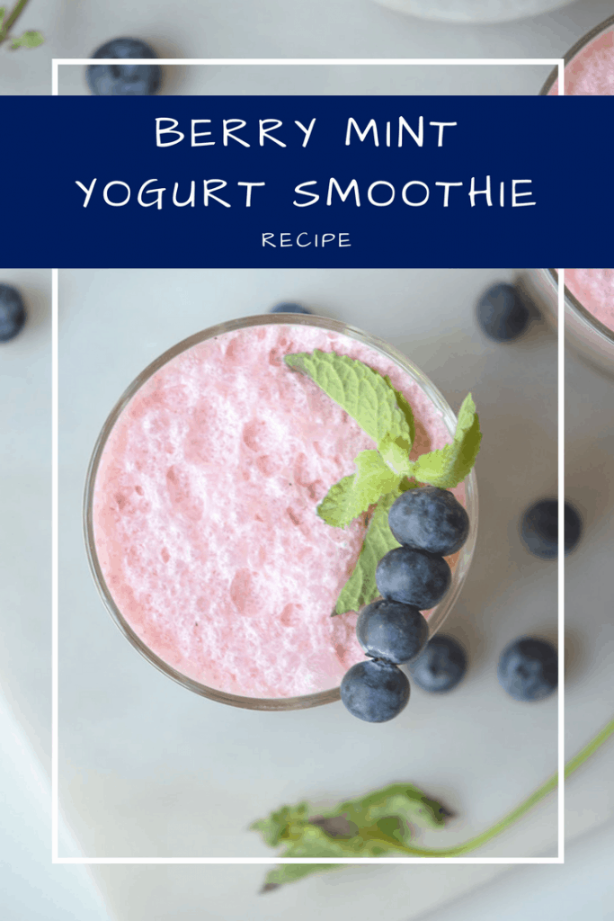 You are going to love the flavors in this Berry Mint Yogurt Smoothie. We're switching from eating high-sugar fruit yogurt to blending plain Greek yogurt with fresh fruit in a delicious and healthy smoothie.