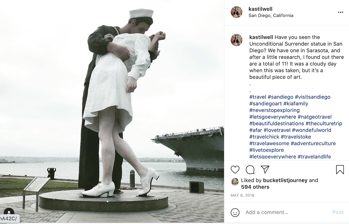 unconditional surrender statue in San Diego.