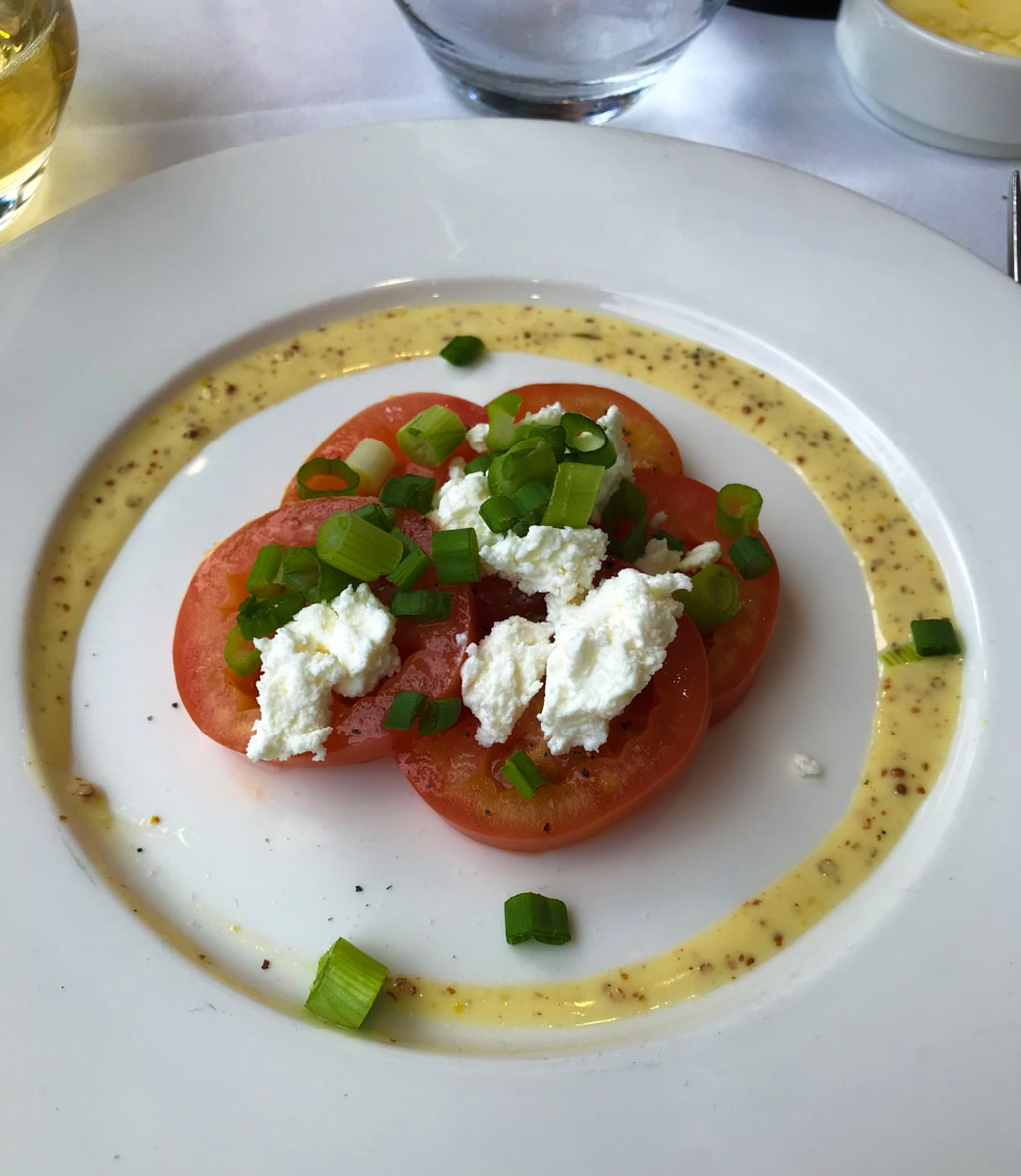 Tomatoes and cheese with vinaigrette on white plate.