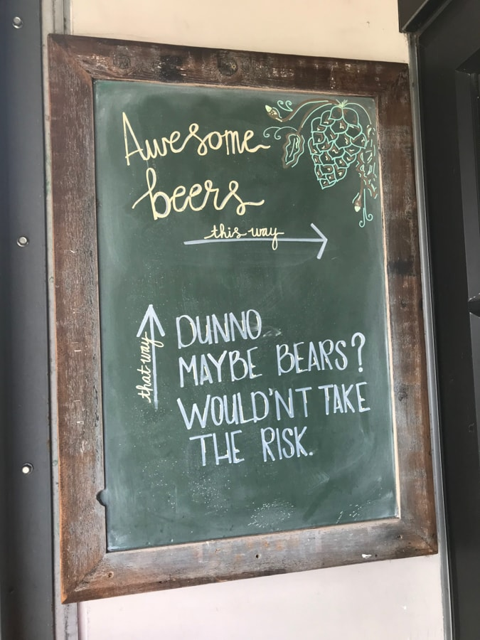 Sign at brewery.