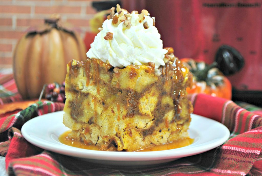 Pumpkin maple crockpot French toast is the perfect breakfast for busy school mornings. It's also a lifesaver when you have company visiting and want to spend time with them - not in the kitchen!