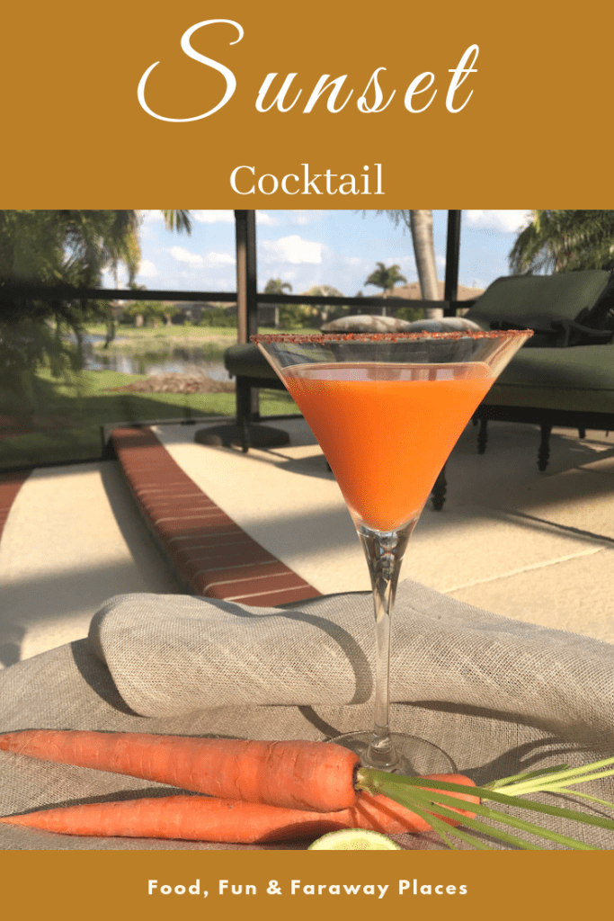 I can't imagine a better way to watch that big orange ball slide below the horizon than with a Martini Sunset Cocktail in hand. #SunsetCocktail #CarrotMartini #SunsetDrink