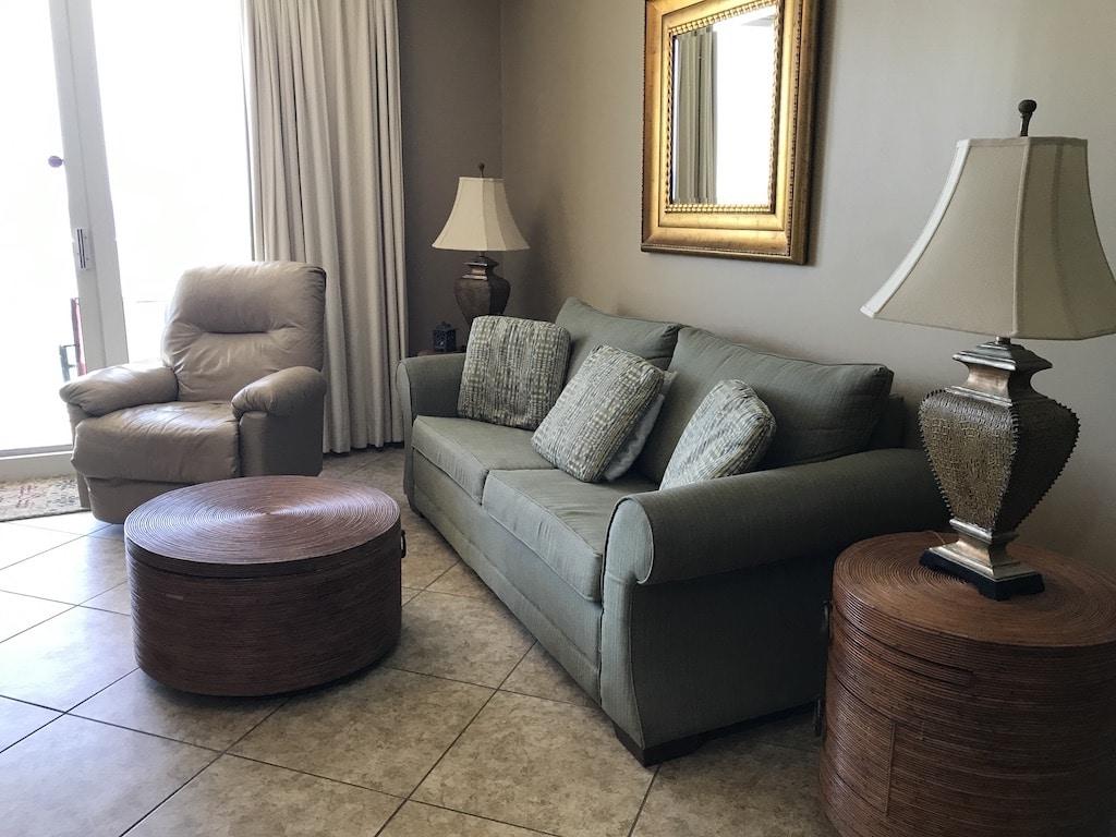 Living room at hotel in Panama City Beach Florida.