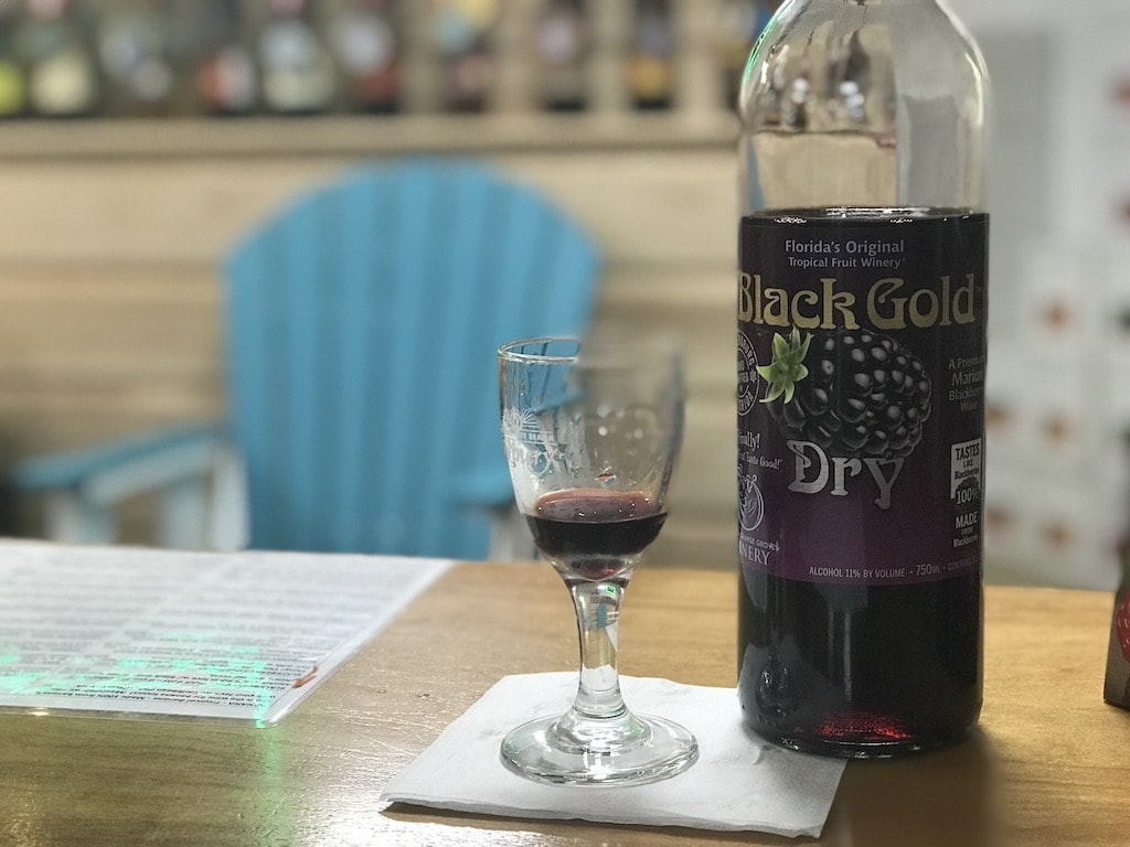Bottle of red wine at local winery in Panama City Beach, Florida.