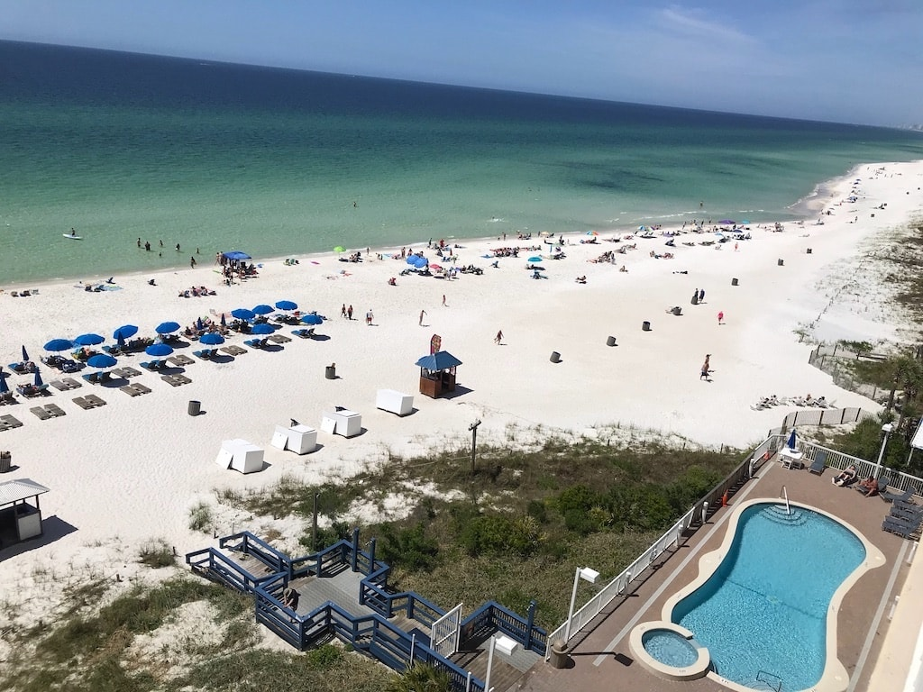 Beach in front of hotel in Panama City Beach, Florida.