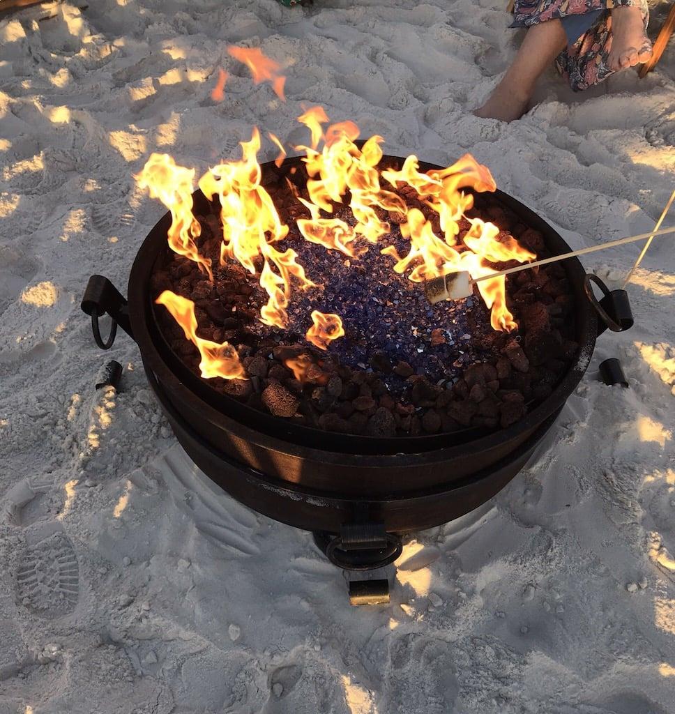 Bonfire on the beach in Panama City Beach, Florida.
