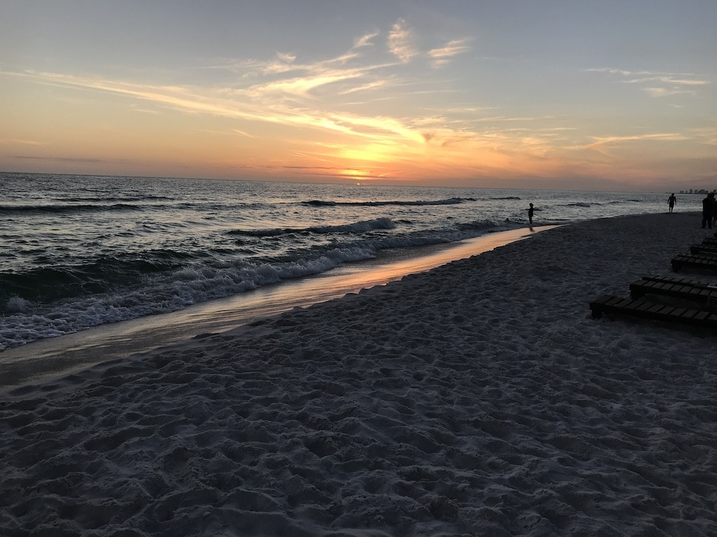 Sunset at the beach at Panama City Beach, Florida.