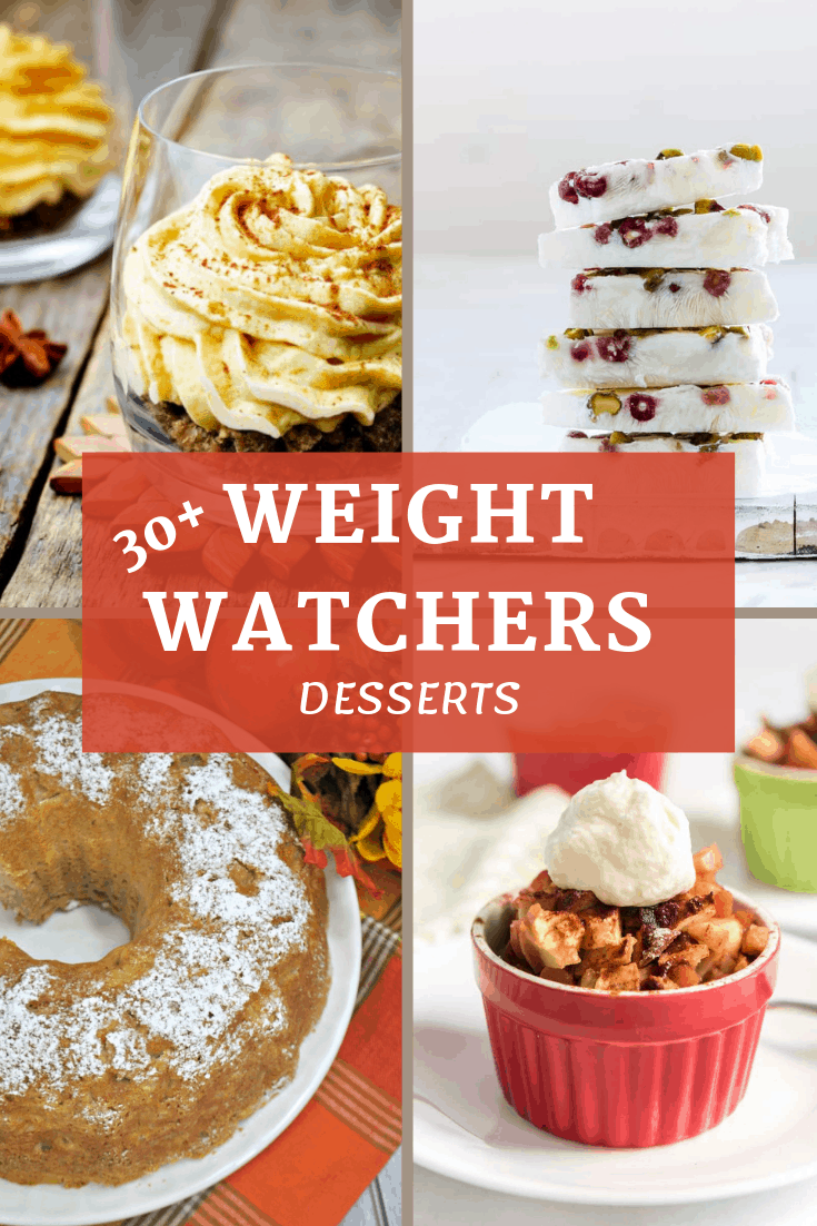 Four deserts, pumpkin mousse, chocolate bark, apple cake, and apple crisp, on an image for Pinterest.