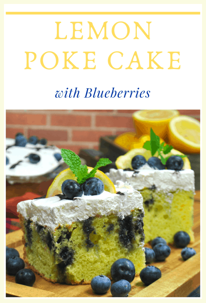 I'm not sure what it is about lemon poke cake with blueberries that just pairs so perfectly, but it truly is a match made in heaven. #LemonPokeCake #PokeCake #EasyCakeRecipe