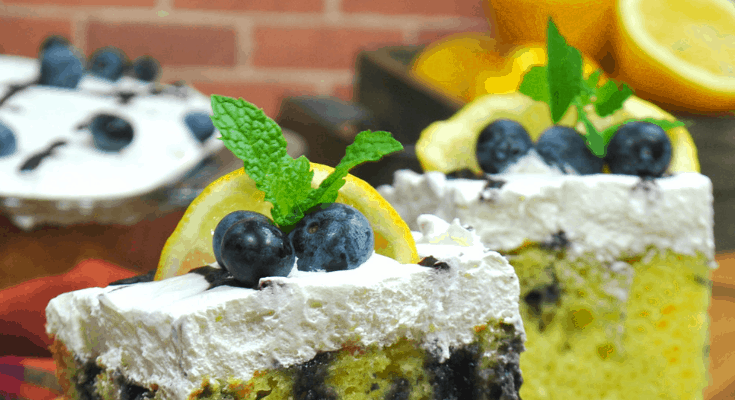 Lemon Poke Cake with Blueberries