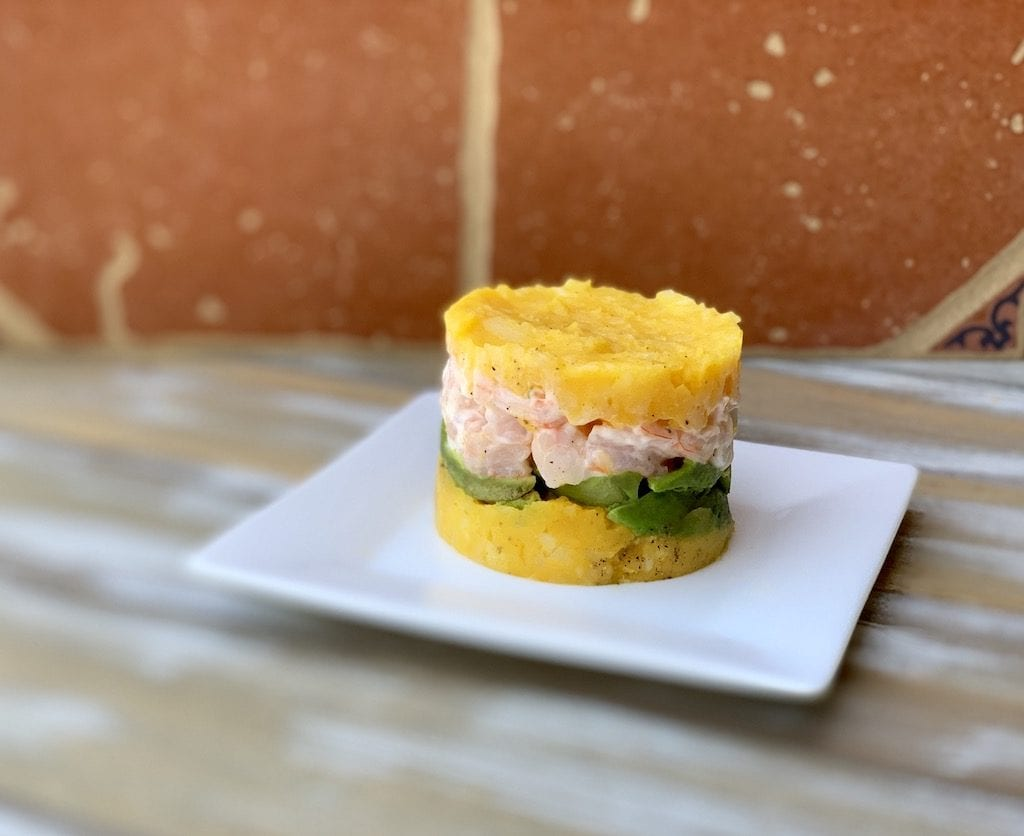 The Shrimp Causa I had on a food tour in Lima Peru last year was incredible. Have you ever eaten Peruvian food?