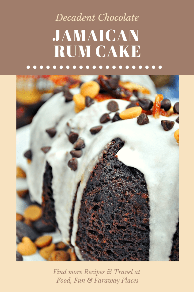 This decadent Chocolate Jamaican Rum Cake is so easy to make, the the rum gives it a kick and makes the texture so moist. Take this to a party and be a huge hit! #RumCake #Rum #RumDessert