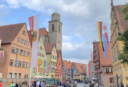 Dinkelsbühl is another of the medieval walled cities on the Romantic Road in Germany, and at the intersection of what were two important trade routes.