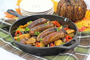 Get ready for a flavor explosion with this bratwurst skillet recipe. Roasting these ingredients together melds the flavors into a pan of pure deliciousness.