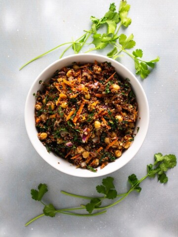 This Quinoa Chickpea Salad recipe is the perfect side when you want something light to accompany a steak, roasted chicken, or fish. This also makes a wonderful meal all on its own.