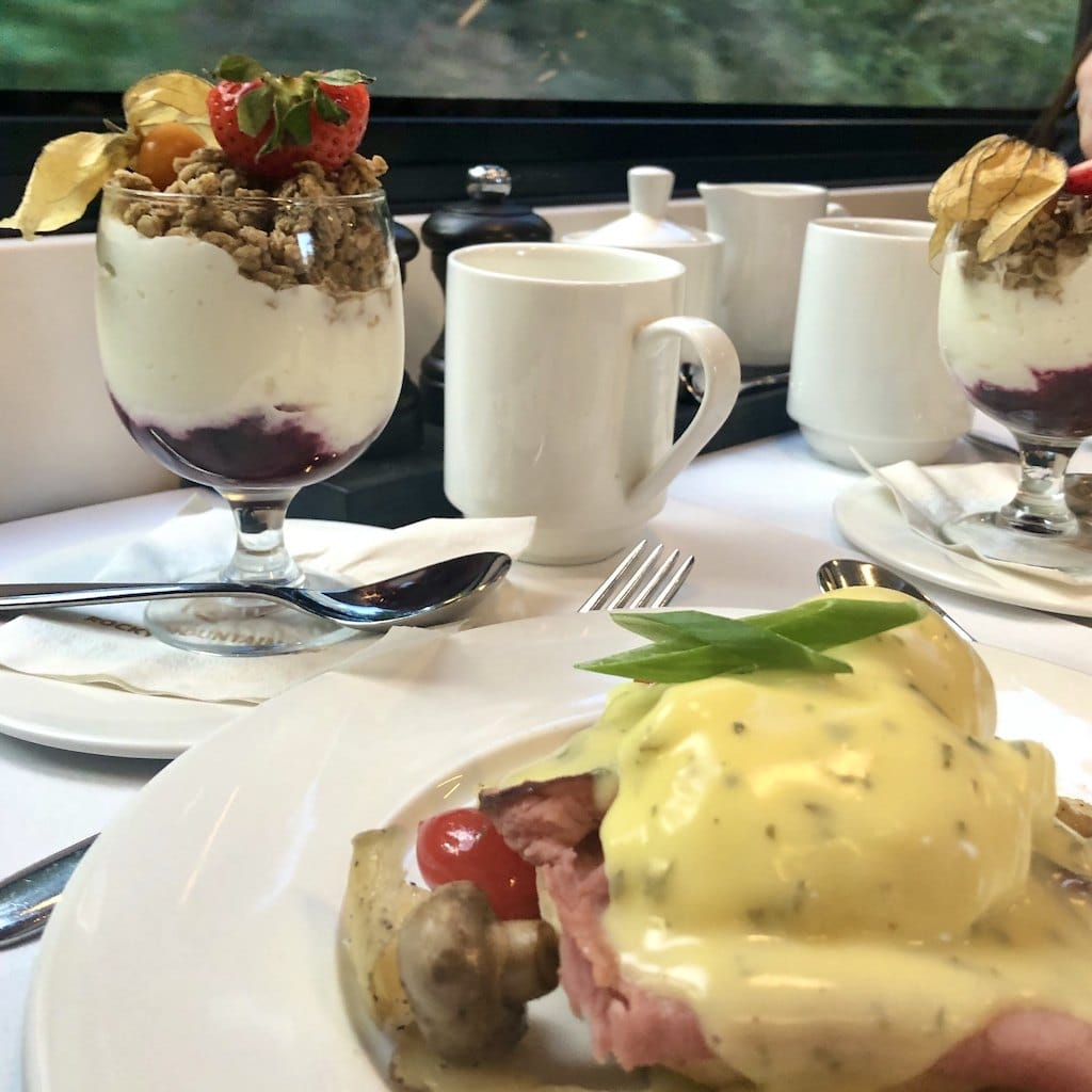 Being spoiled on a Rocky Mountaineer train trip is not just about those views, though they are spectacular! This train serves gourmet meals, too!
