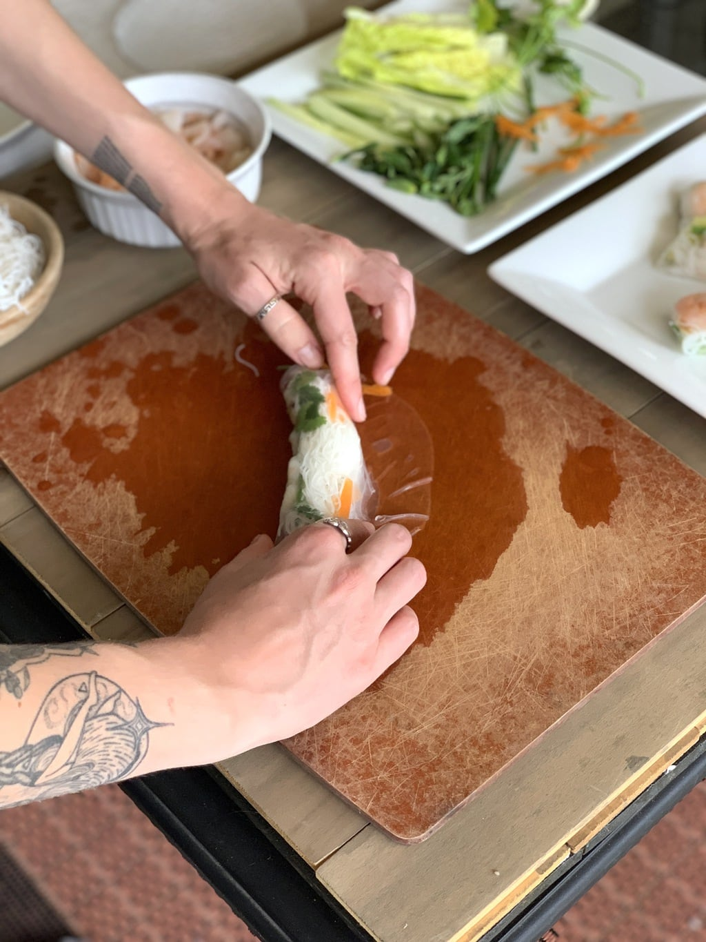 I learned to make Vietnamese shrimp summer rolls when I was in Vietnam last year with Holland America on a 20 day Southeast Asia cruise. It was a magical experience to say the least!