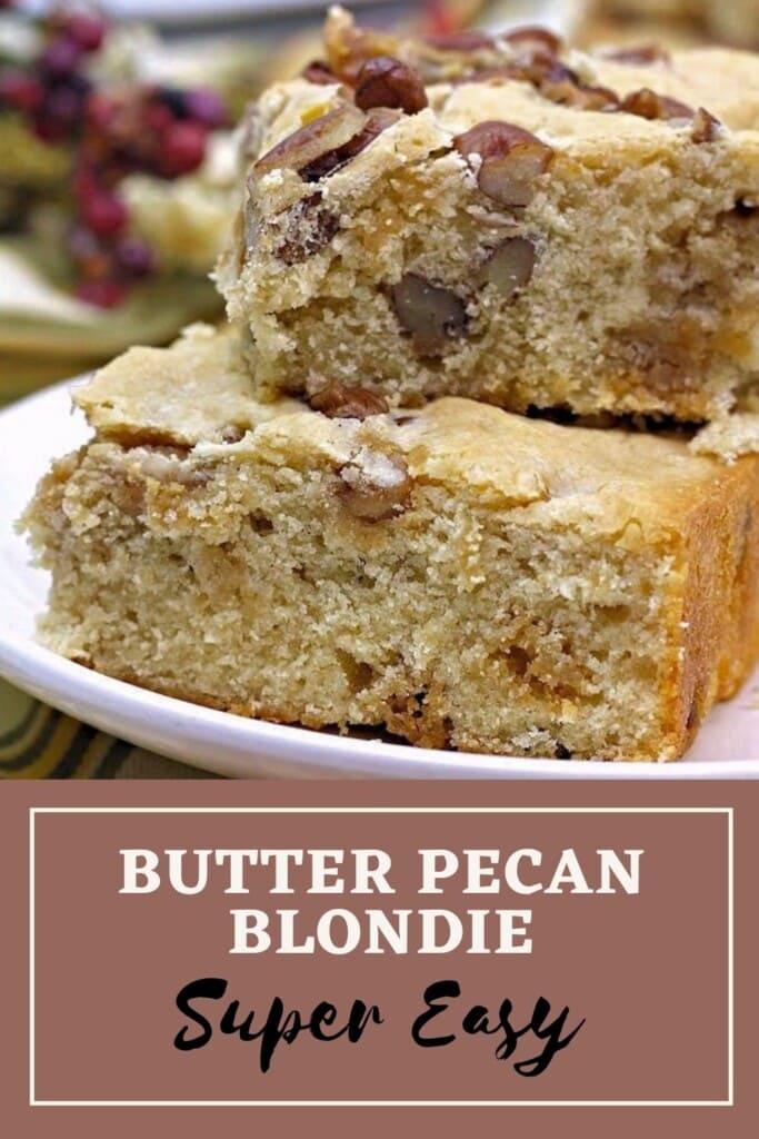 butter pecan blondie pinterest image