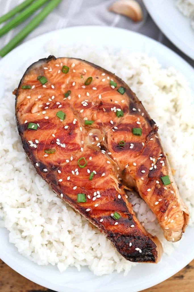 grilled salmon on white rice