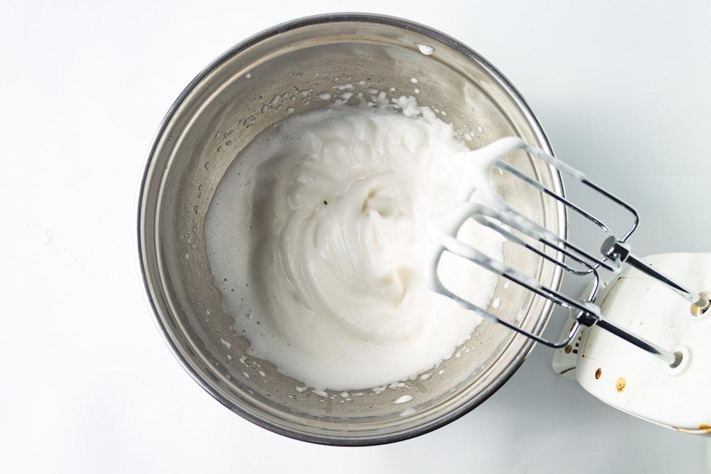 aquafaba in mixing bowl