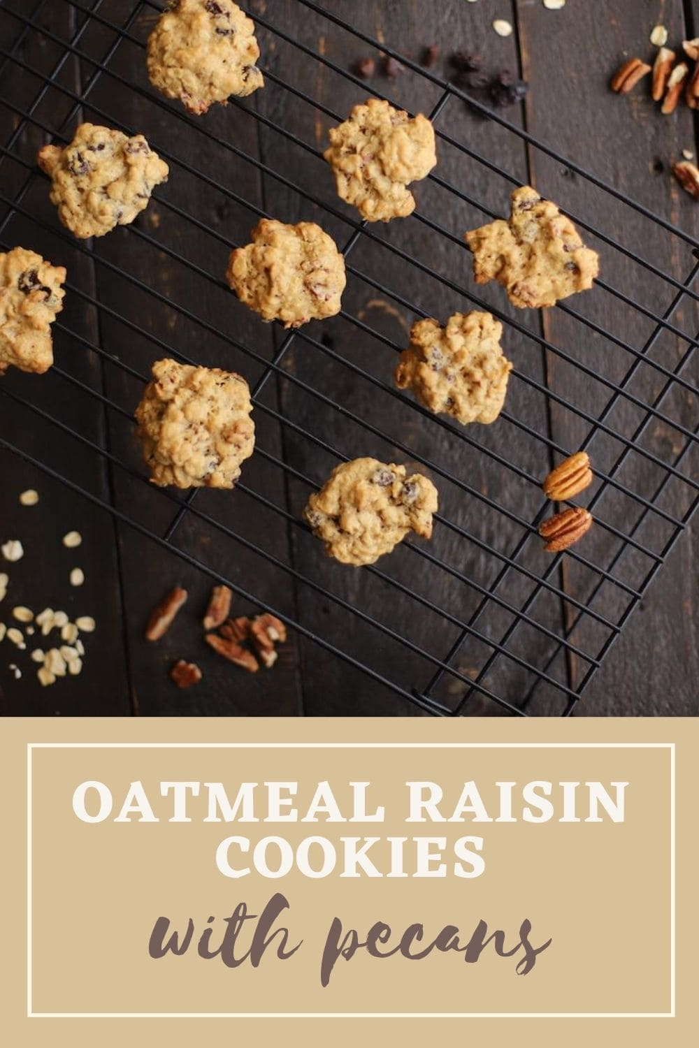 oatmeal raisin cookies on a wire rack