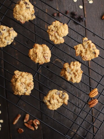 oatmeal raisin cookies on a cookie rack