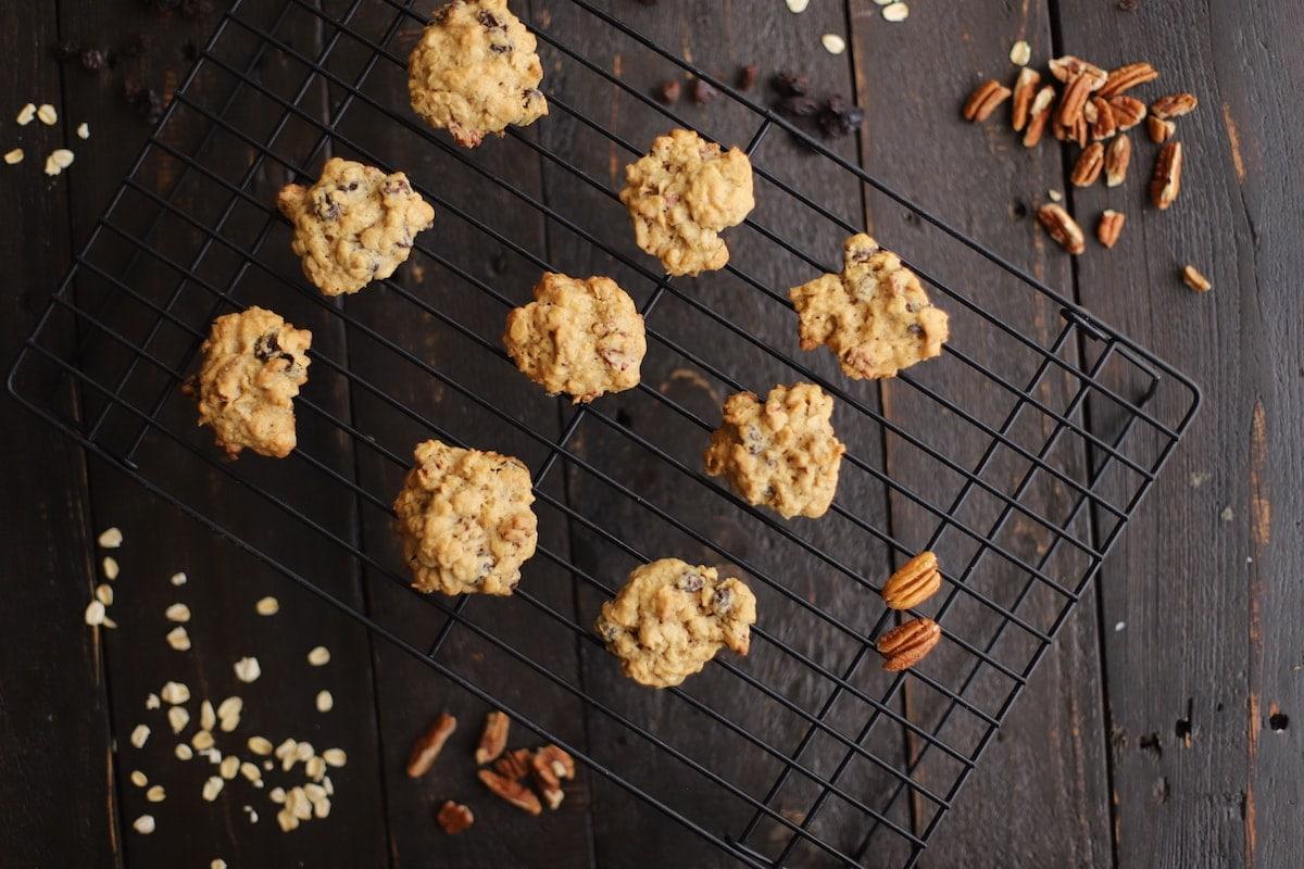 oatmeal raisin cookies on a cookie rack