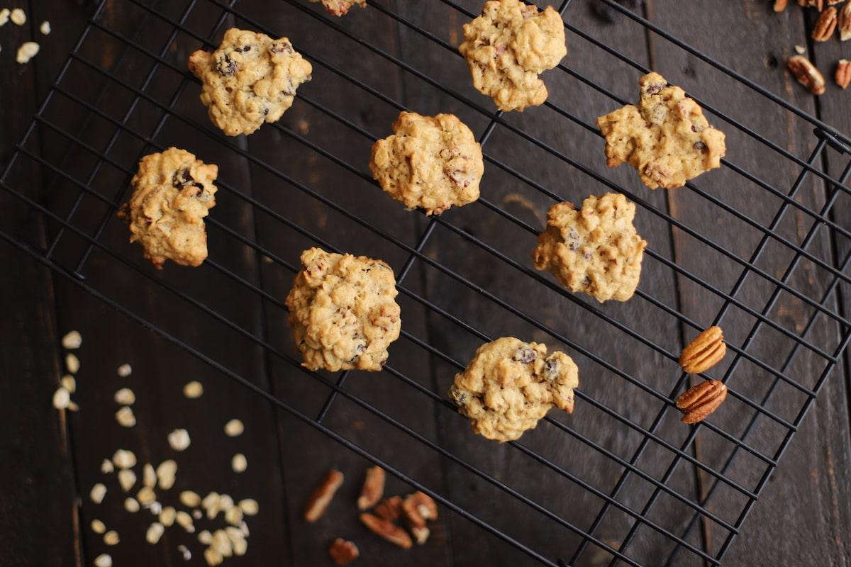 oatmeal raisin cookies on cookie rack