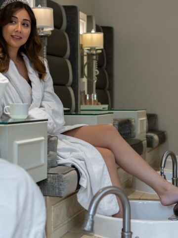 ladies in white robes at spa
