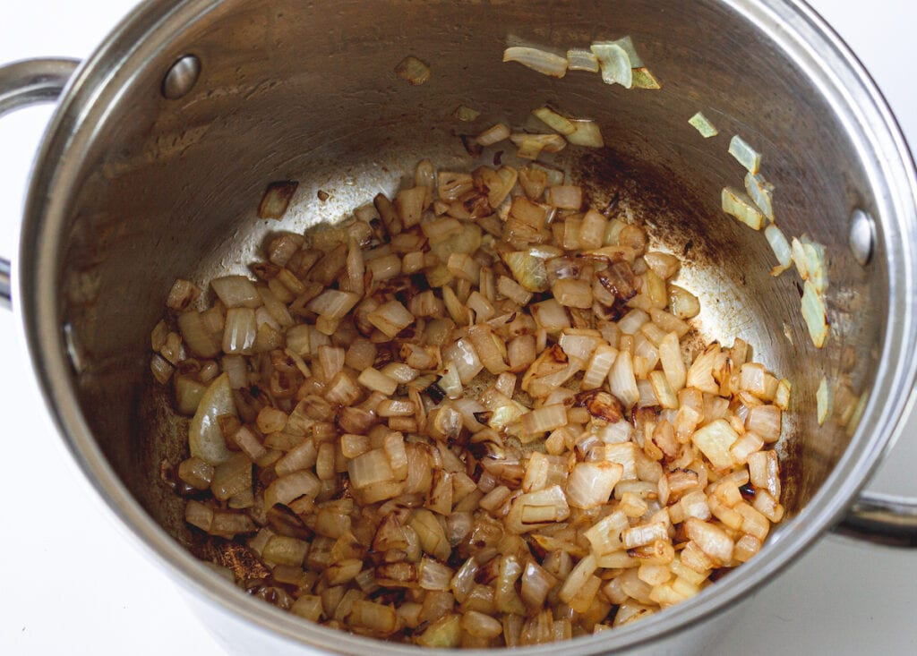 caramelized onion in stock pot