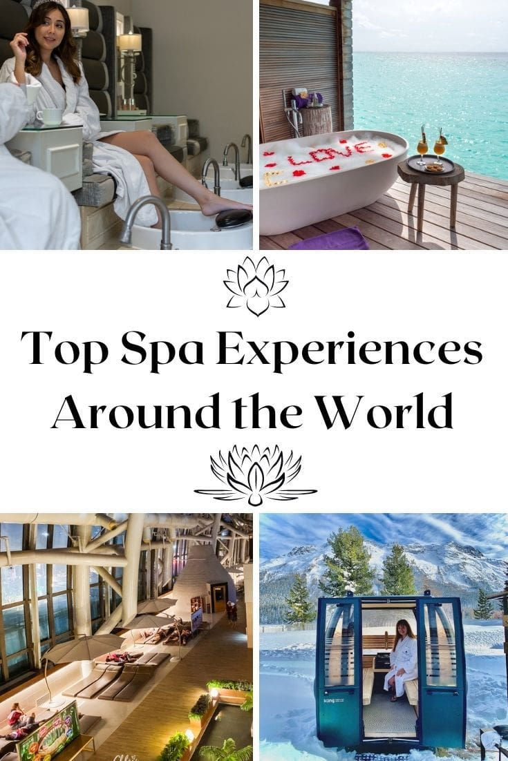 graphic for top spas around the world on Pinterest