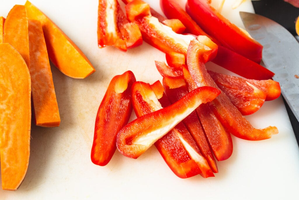 sweet potatoes and red pepper slices