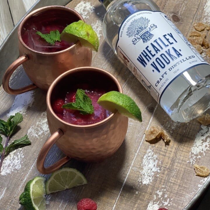 Raspberry Moscow Mule cocktail