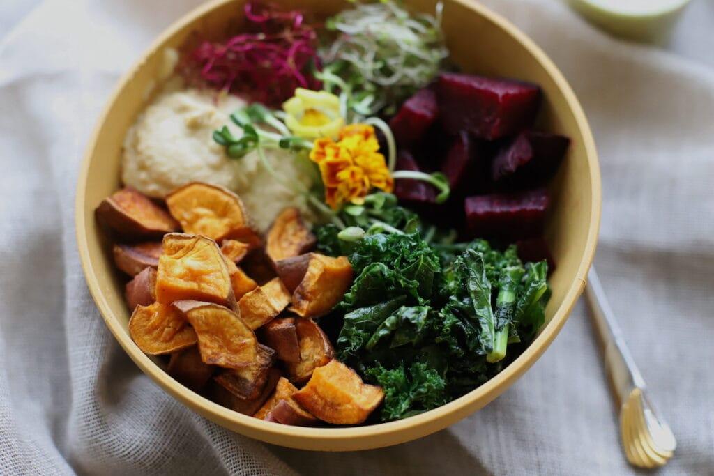 kale and sweet potato vegan bowl