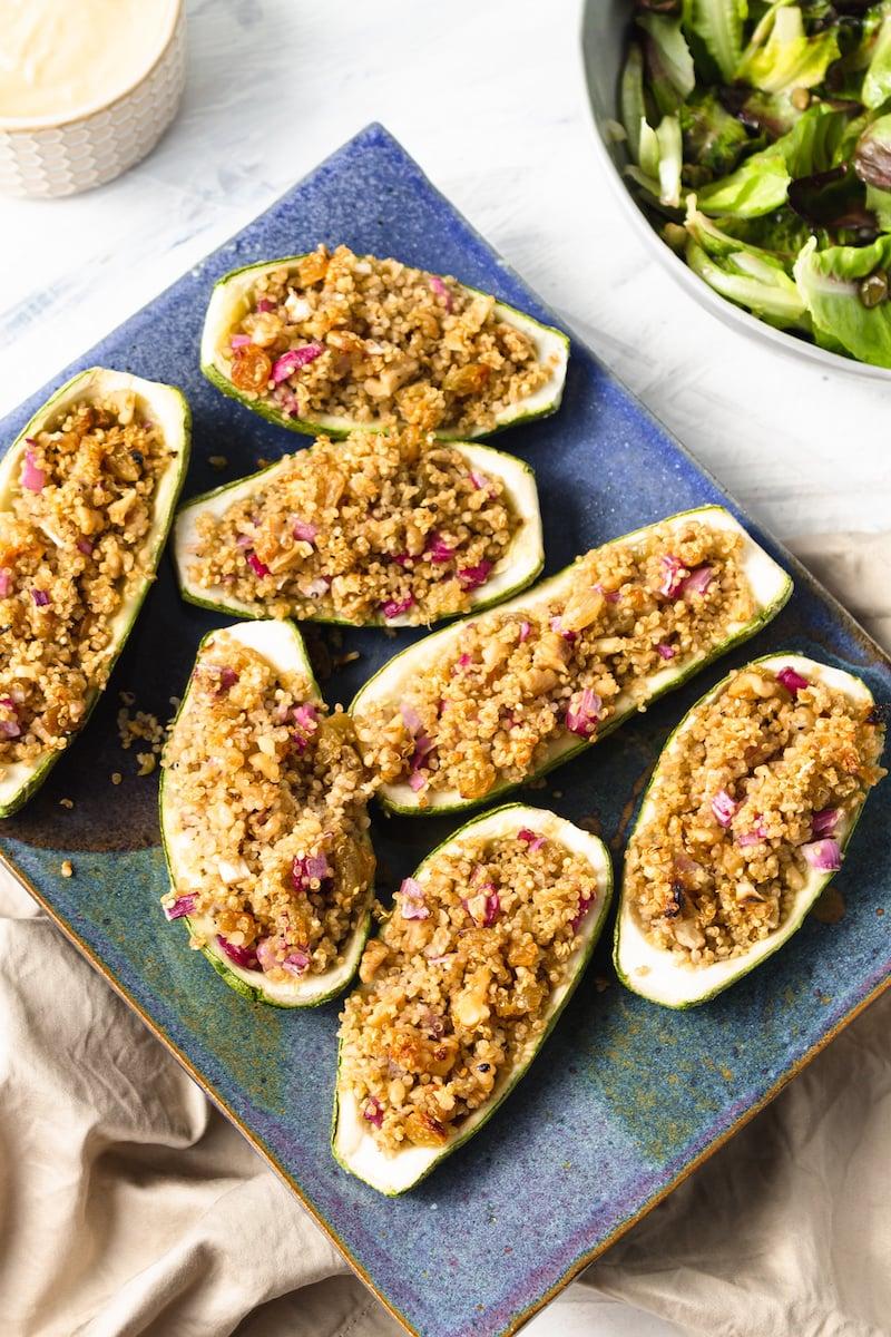 stuffed zucchini on platter