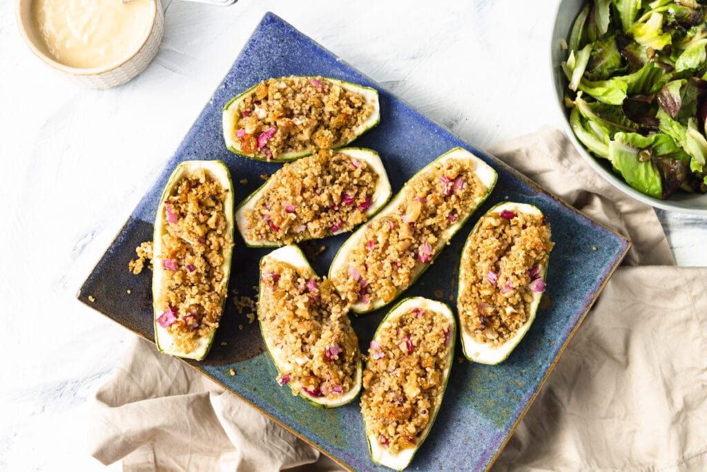 vegetarian stuffed zucchini on blue plate