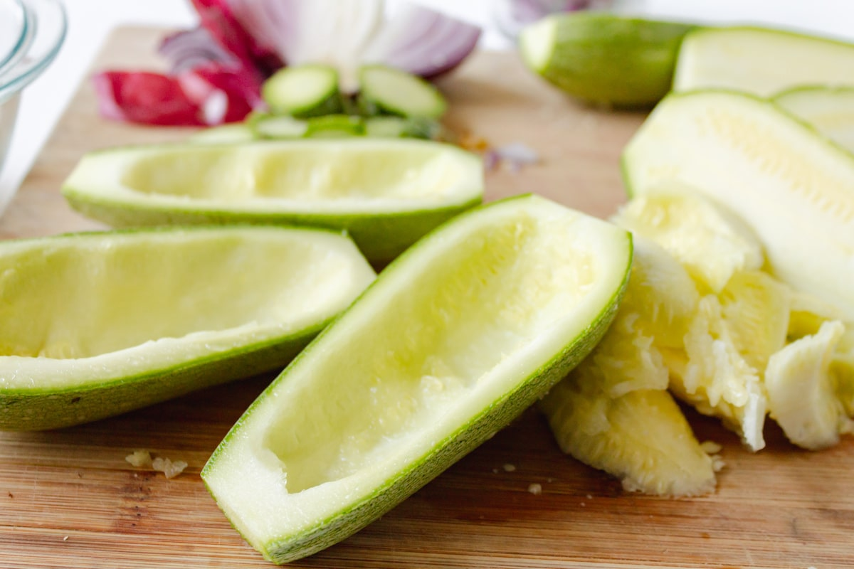 raw zucchini on cutting board
