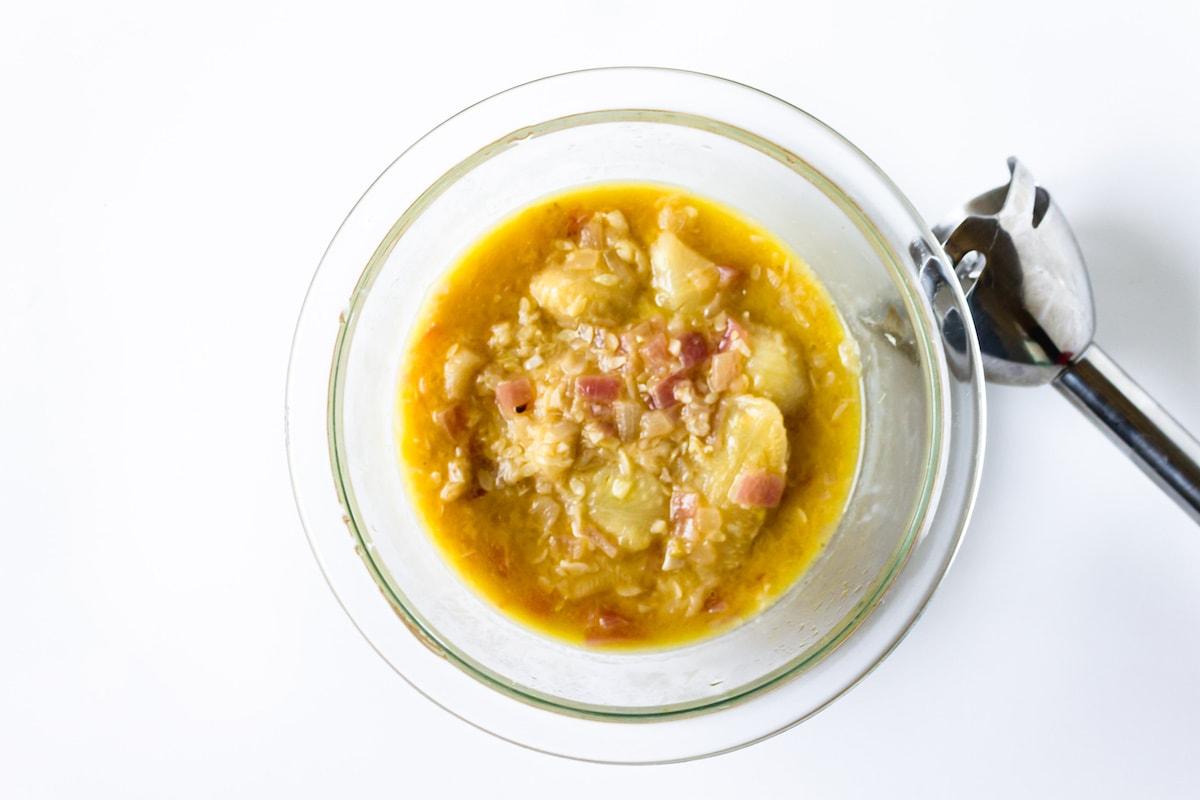 sauce prep for vegan stuffed zucchini