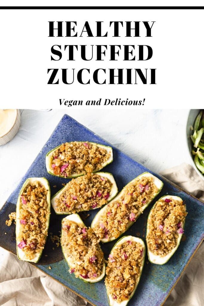 healthy stuffed zucchini on a blue plate