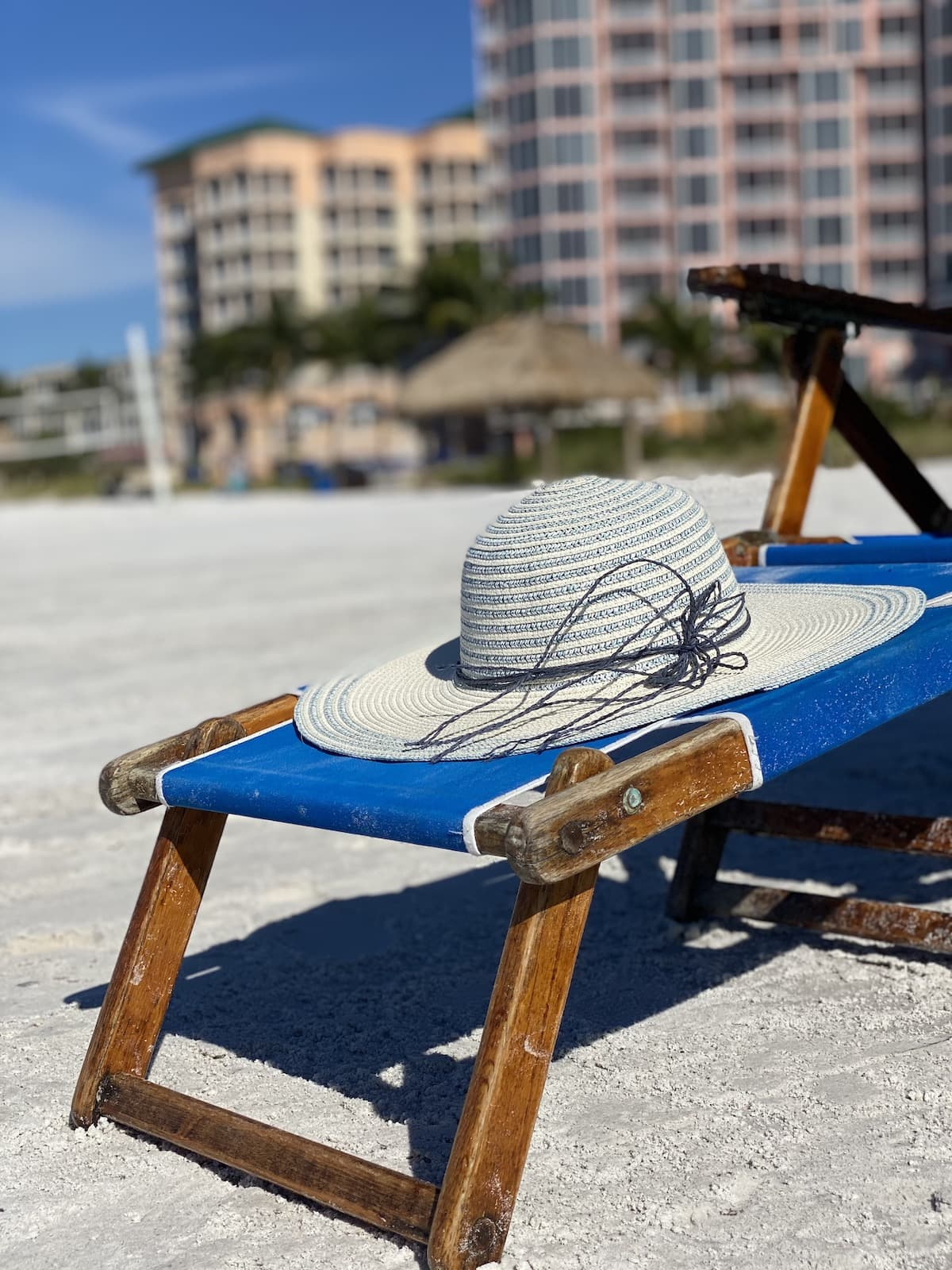 Pink shell hat on beach chair