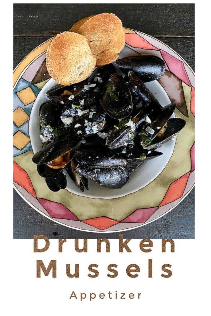 Pinterest image of Drunken Mussels.