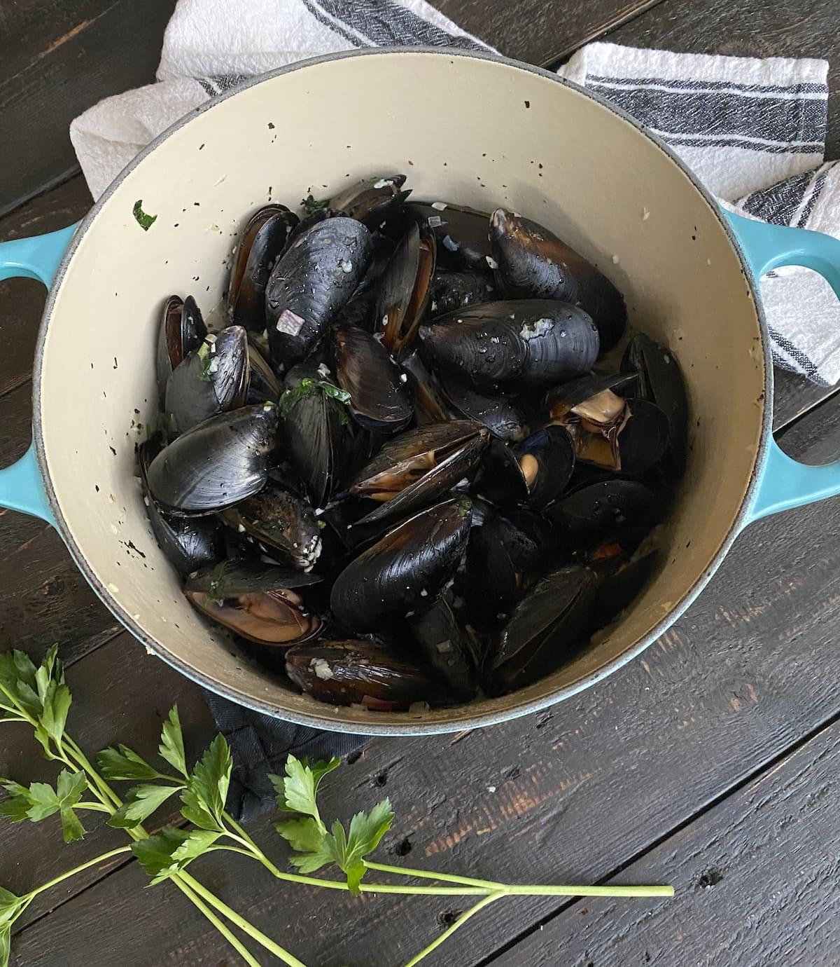 Drunken Mussels ready to eat!