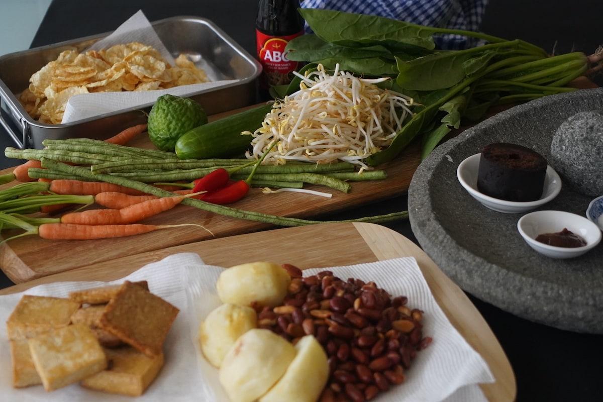 Gado Gado Recipe ingredients ready for preparation.