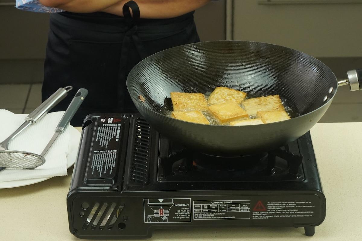 Tempeh cooking for Gado Gado recipe.