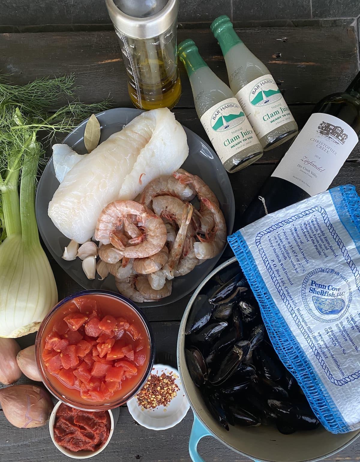 Seafood for Cioppino.