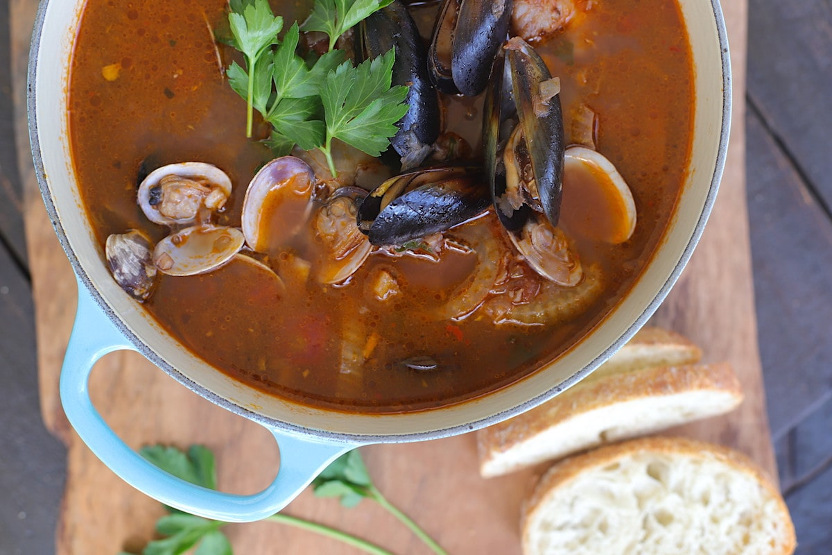 The best fish stew is Cioppino with mussels and clams.
