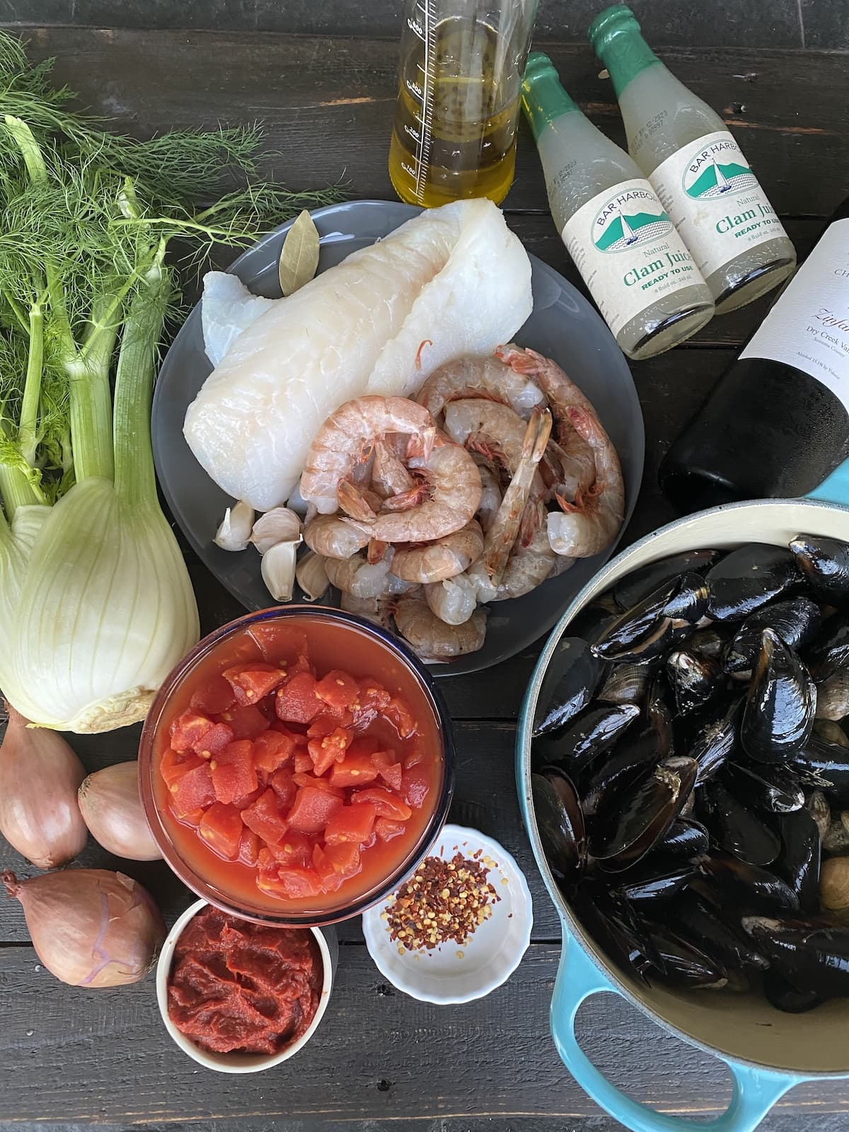 Ingredients for Cioppino.