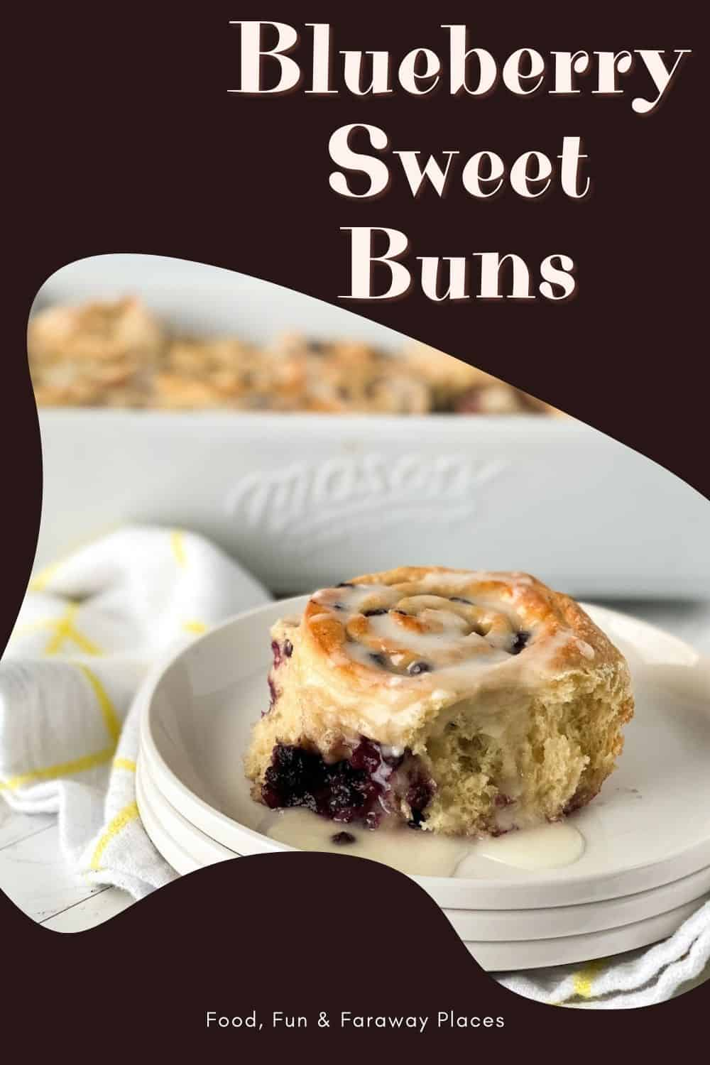Image of blueberry sweet roll pastry on a white plate for Pinterest.