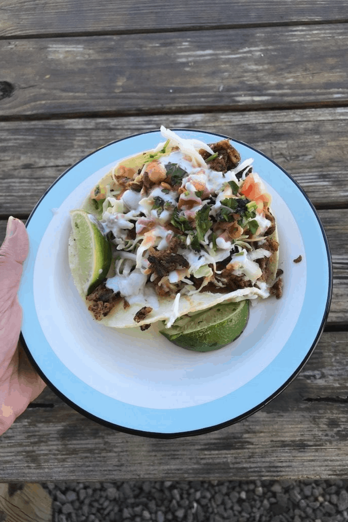 Carnitas tacos on a white plate being held over a wood table.