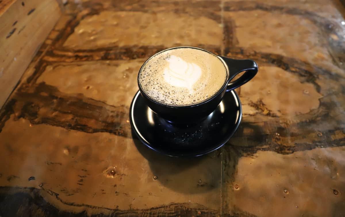Coffee on wood table.